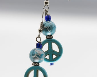 Teal Peace Sign Earrings