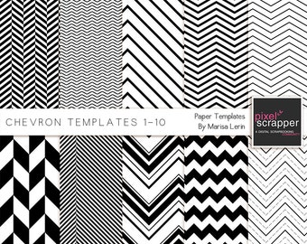 Chevron Paper Templates - Digital Scrapbooking, digital papers, patterns, PNG, INSTANT DOWNLOAD, commercial use