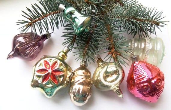 7 Vintage Christmas Decoration Soviet Glass Ornaments | Etsy