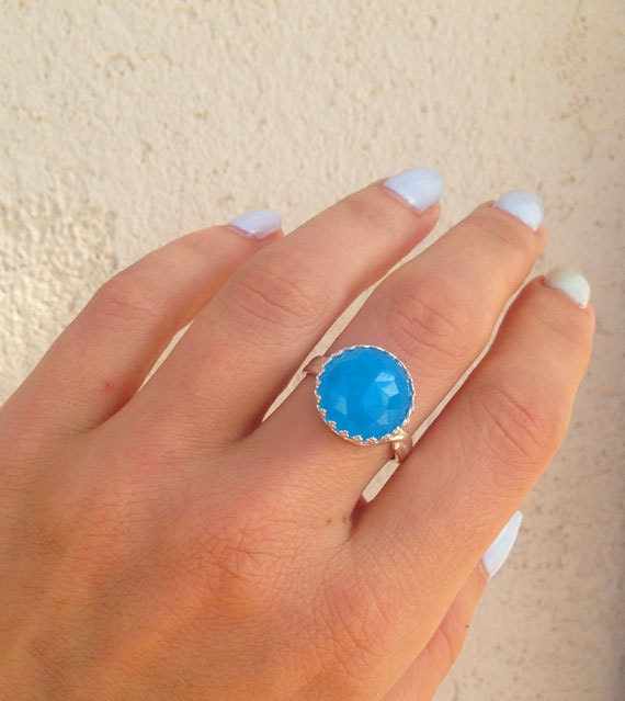 Rose Cut Blue Chalcedony Promise Ring Oval Crown Ring Blue Chalcedony Ring Aqua Blue Stone Gold Ring Engagement Ring