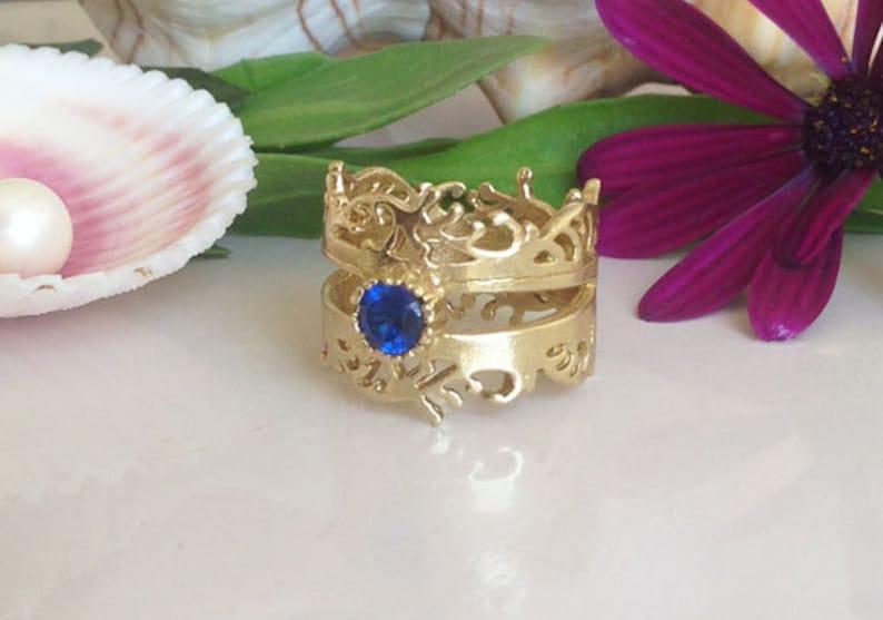 Delicate Ring Gemstone Ring Prong Set Ring Gold Blue Ring September Birthstone Sapphire Ring Navy Blue Sapphire