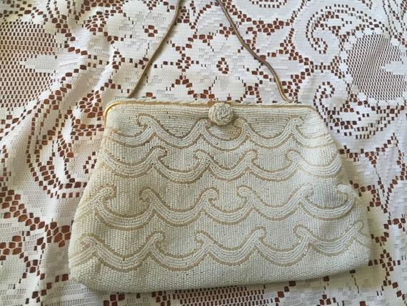 Beaded Handbag France Vintage White Wave Design