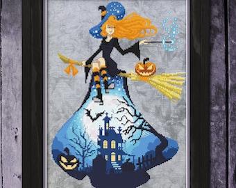 Witch Cross Stitch Pattern, Halloween Cross Stitch pattern, Halloween Xstitch, Bewitched Physical Leaflet, Autumn Lane Stitchery