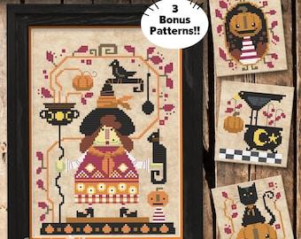 Matilda the Pumpkin Witch Cross Stitch Pattern, Pumpkins cross stitch, Autumn cross stitch, Physical Leaflet, Autumn Lane Stitchery