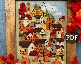 Autumn Towne Cross Stitch Pattern, Fall X Stitch chart, Pumpkins, Fall harvest Landscape Counted Cross stitch PDF, Autumn Lane Stitchery