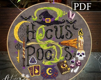 Hocus Pocus Cross Stitch Pattern - Halloween Witch Cross Stitch Pattern, Sppoky, PDF Pattern Autumn Lane Stitchery