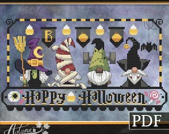 Halloween Gnomies Cross Stitch Pattern, Halloween Gnomes cross stitch, Spooky, PDF Pattern, Autumn Lane Stitchery