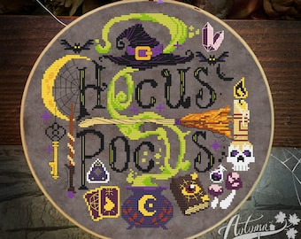 Hocus Pocus Cross Stitch Pattern - Halloween Witch Cross Stitch Pattern, Spooky, Physical leaflet Autumn Lane Stitchery