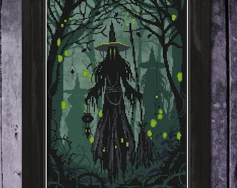 The Collectors Cross Stitch Pattern, Witch Cross Stitch, Spooky Gothic Cross Stitch, Physical Leaflet, Autumn Lane Stitchery