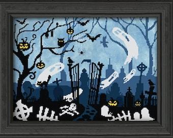 Lost Souls Cemetery PDF Cross Stitch Pattern: Exclusive Autumn Lane Stitchery (digital download)