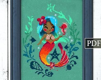 The Hawaiian Mermaid PDF, Cross Stitch Pattern, Mermaid Pattern, Autumn Lane Stitchery