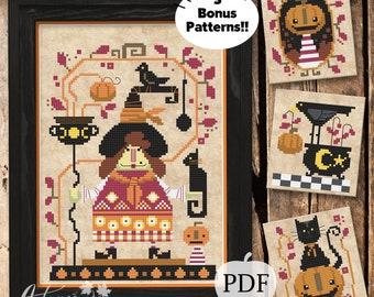 Matilda the Pumpkin Witch Cross Stitch Pattern, Pumpkins cross stitch, Autumn cross stitch, PDF Pattern, Autumn Lane Stitchery