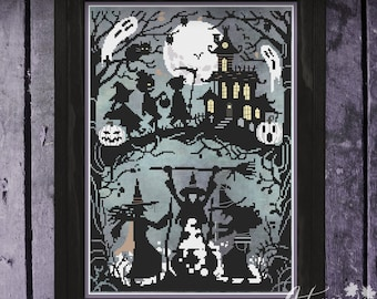 Something Wicked This Way Comes Cross Stitch Pattern, Halloween Witch cross stitch, Spooky, Physical Leaflet, Autumn Lane Stitchery
