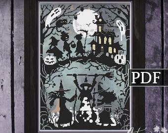 Something Wicked This Way Comes Cross Stitch Pattern, Halloween Witch cross stitch, Spooky, PDF Pattern, Autumn Lane Stitchery