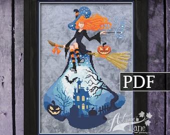 Witch Cross Stitch Pattern, Halloween Cross Stitch pattern, Halloween Xstitch, Bewitched PDF, Autumn Lane Stitchery