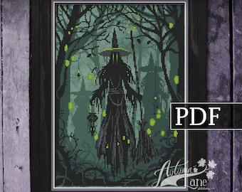 The Collectors Cross Stitch Pattern, Witch Cross Stitch, Spooky Gothic Cross Stitch, PDF Pattern, Autumn Lane Stitchery