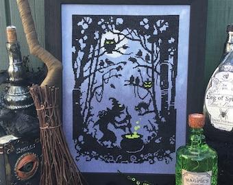 Midnight Brew PDF, Cross Stitch Pattern, Halloween, Counted Cross Stitch, Autumn Lane Stitchery (digital download)