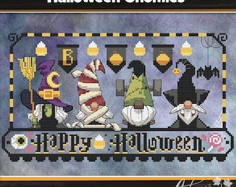 Halloween Gnomies Cross Stitch Pattern, Halloween Gnomes cross stitch, Spooky, Physical Leaflet Pattern, Autumn Lane Stitchery
