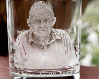 Engraved Picture on Whiskey Glass   Birthday, retirement, personalized gift, family portraits, etched glass, unique gift, mile stone gift