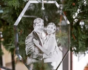 Photo Etched Glass Ornament Octagon   photograph on glass, custom ornament, anniversary gift, wedding, holiday decor, personalized gift