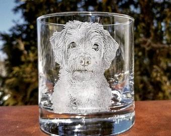 Customized Pet Lovers Gift Glass   Pet portrait rocks glass, Pet lovers gift, Etched photography glass, Engraved glassware, pet photography