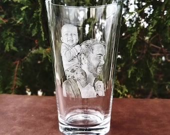 Etched Pint Glass   portrait glass, Beer glass, Saint Patrick's Day, beer lover, Irish beer, personalized gifts, made to order, picture, cup