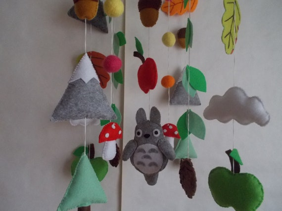 Baby mobile Totoro nursery Woodland Forest