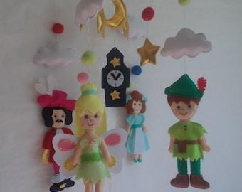 Baby crib mobile Peter Pan,Peter Pan mobile,Captain Hook mobile,Baby Disney mobile,Piter Pan,Cartoon mobile,fairytales mobile,custom mobile