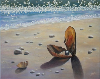 THE GIFT Original commission oil painting on canvas Fine art Optimistic painting On the beach Warm sea Travelling Good vibes Light painting