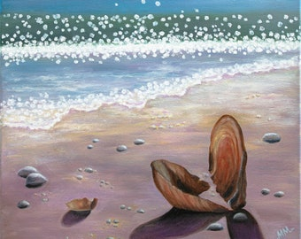DREAM VIEW Original commission oil painting Fine art Optimistic painting On the beach Warm sea Travelling Good vibes Light painting