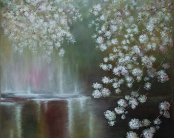 Impressionistic Palette knife Botanical oil painting SPRING BLOSSOM Commission Aesthetic Spring time Blooming Japanese cherry blossom trees