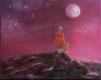 URSA MAJOR Original oil painting Good vibes Girl with a Teddy Bear Dream and fantasy Girl in the universe Stars Sky Girls dreams Celestial