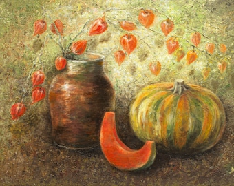 Halloween mood PUMPKIN AND PHYSALIS Autumn gifts Oil painting Impressionistic Palette knife painting Commission work Textured Canvas board