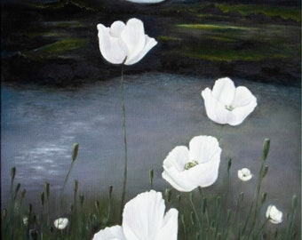 MOONLIGHT POPPIES Oil painting Fine Art Fantasy landscape Dark night White poppies Serenity and calmness Relaxing nature Mountains and lake
