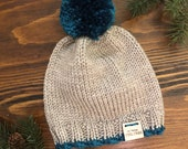 Baby Woodland Rustic Girl - Boy Knitted Beanie Warm Cozy Winter Knit Hat with Pompom quot THE little SENOIA quot in Teal Blue Biscuit
