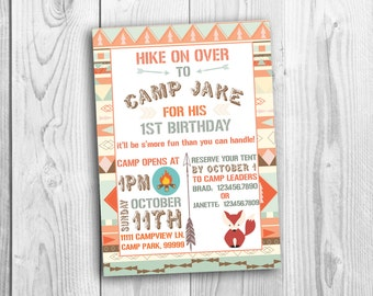Camping Theme/Tribal Theme Birthday Invitation