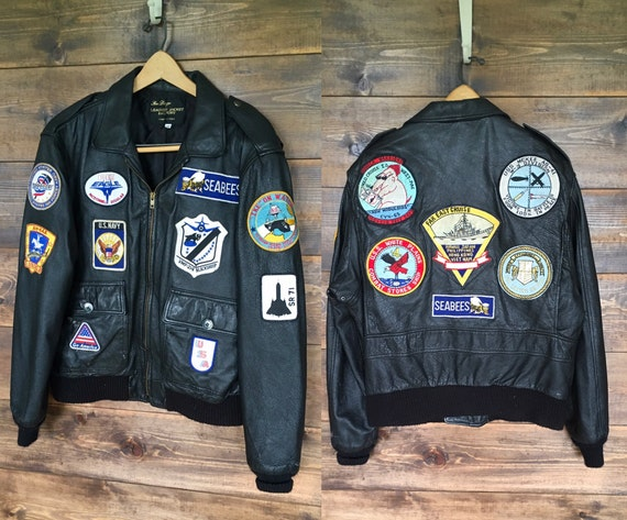 Vintage Leather PilotBomber Jacket with Patches