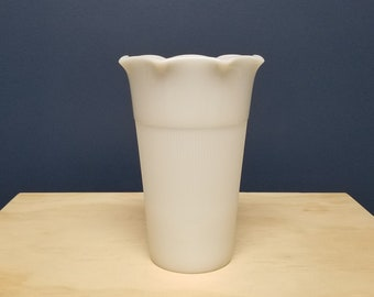 Large Milk Glass Vase with Ribs by Anchor Hocking, Mid Century, Vintage Flower Vase