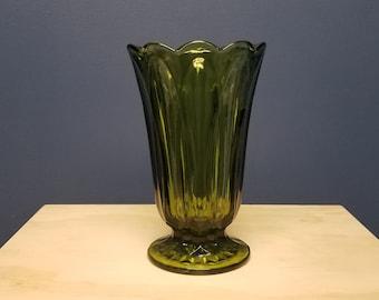 Large Green Glass Pedestal Vase, Vintage Anchor Hocking Fairfield Flower Vase