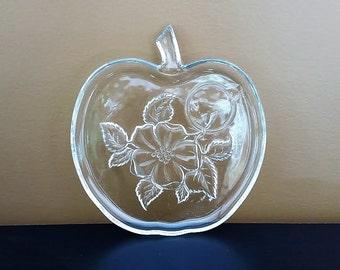 Glass Apple Plates Orchard Plate Set Hazel Atlas Apple Blossom Plates Set of 4