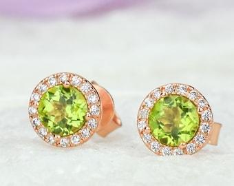 Rose Natural Peridot Earrings, August Birthstone, Green Stud Earrings,Anniversary Earrings, Halo Earrings, Wedding Earrings, Bridal Earrings
