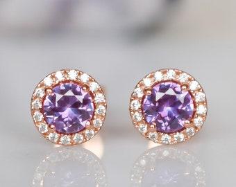 1.5 ct 18k Rose Alexandrite Halo Earrings,Multicolor Earrings,Halo Earrings,Wedding Earrings,Lab Alexandrite,Purple earrings,Bridal Earrings