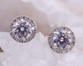 1.5 ctw Charming Halo Earrings, Stud Earrings,Halo Earrings,Small Wedding Earrings,Man Made Diamond Simulants, Round Studs, Bridal Earrings