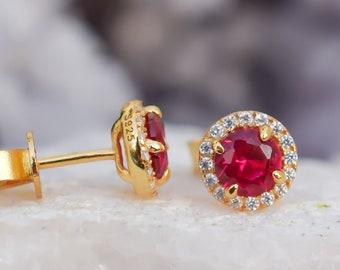 18k Gold Ruby Earrings, Red Stud Earrings, Gold Earrings, Halo Earrings, Wedding Earrings,Lab Grown Ruby,Bridal Earrings, Diamond Earrings