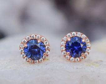 1.5 ct 18k Rose Gold Sapphire Earrings, Blue Stud Earrings,Halo Earrings, Wedding Earrings,Lab Grown Sapphires,Round Studs,Bridal Earrings