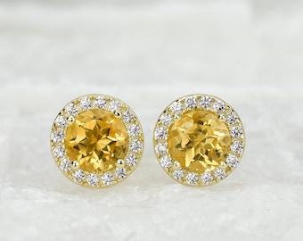 1.5ct 18k Gold Natural Citrine Earrings, Yellow Stud Earrings, Anniversary Earrings, Halo studs,Wedding Earrings,Round Studs,Bridal Earrings