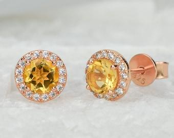 1.5ct 18k Rose Natural Citrine Earrings,Yellow Earrings,Anniversary Earrings,Halo studs,Wedding Earrings,November Birthstone,Bridal Earrings