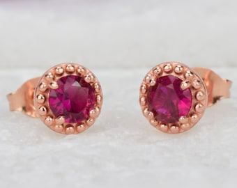 1 ct Rose Gold Ruby Earrings,July Birthstone, Red Stud Earrings, Dot Earrings,Wedding Earrings,Lab Ruby, Art Deco Earrings, Bridal Earrings
