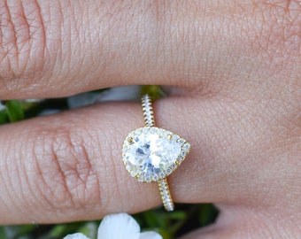 Final Sale 3 4 Ct Pear Halo Ring Wedding Ring Engagement Etsy