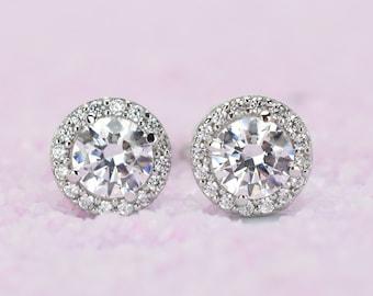 1.5 ctw 14k Solid Gold Halo Earrings, Stud Earrings, White Gold Studs,Wedding Earrings, Bridal Earrings, 14k Gold Earrings, 14k White Gold